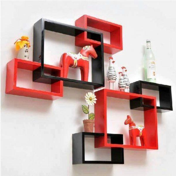 Étagère murale 6 cubes de bois
