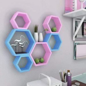 Étagère murale 6 hexagones de bois
