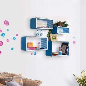 Etagère murale 4 rectangles bois naturel